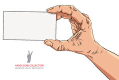 Hand showing business card, detailed vector illustration Royalty Free Stock Photo