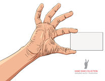 Hand showing business card, detailed vector illustration. Stock Photos