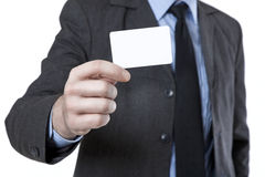 Hand showing business card Stock Photos