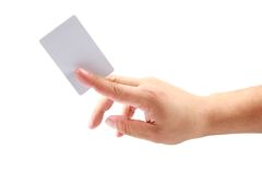 Hand showing a card Royalty Free Stock Image