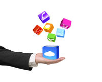 Hand showing cloud box illuminated colorful icons isolated on wh Stock Photos