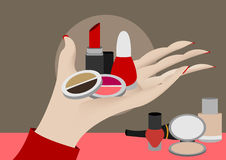 Hand showing cosmetics. On brown background stock illustration