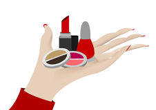 Hand showing cosmetics. On white background royalty free illustration