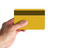 Hand Showing Credit Card. Hand showing golden credit card. Could be business card/credit card stock photography