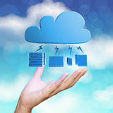 Hand showing 3d Cloud Computing diagram Royalty Free Stock Photo