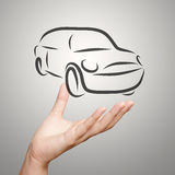 Hand showing design sketch car Stock Photos