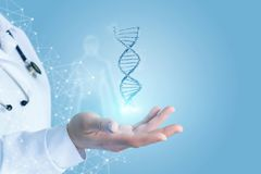 Hand showing dna . Doctor Hand showing dna . Concept of research and testing stock photo
