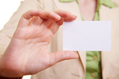 Hand showing empty card Stock Image