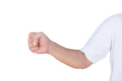 Hand showing  fist  gesture with clipping path.  Stock Image