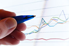 Hand showing graph Royalty Free Stock Images
