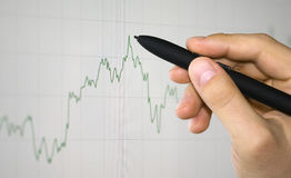 Hand showing graph Stock Photography