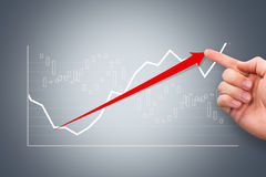 Hand Showing Graph Chart with Red Arrow Royalty Free Stock Images