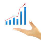 Hand showing graph isolated Stock Photo