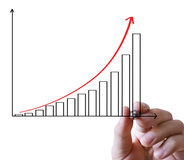 Hand showing graph isolated Stock Images
