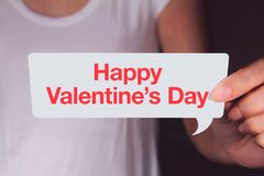Hand showing Happy Valentine`s Day. Royalty Free Stock Photography