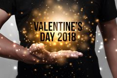 Hand showing Happy Valentine`s 2018 Royalty Free Stock Photos