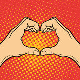 Hand showing heart deaf-mute gesture human arm hold communication and direction design fist touch pop art style colorful Stock Photography