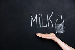 Hand showing milk drawn on blackboard Stock Photos