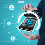 Hand  showing mobile with Bluetooth connection. Smart hand  showing mobile with Bluetooth connection Royalty Free Stock Image