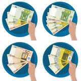 Hand showing money. Hand showing five 50, 100 y 200 euro notes royalty free illustration
