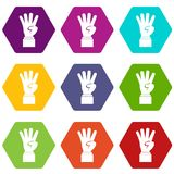 Hand showing number four icon set color hexahedron Royalty Free Stock Photos