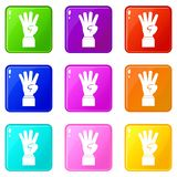 Hand showing number four icons 9 set Stock Photo