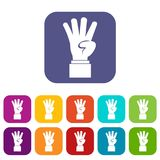 Hand showing number four icons set Royalty Free Stock Image