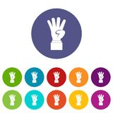 Hand showing number four set icons Royalty Free Stock Image