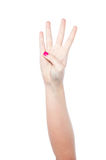 Hand showing number four stock image