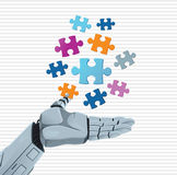 Robot hand and puzzle Stock Photo