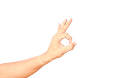 Hand showing ok sign. Isolated on white background Royalty Free Stock Photo