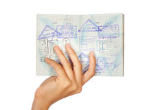 Hand showing passport, close-up shot Royalty Free Stock Photos