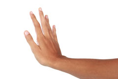 Hand showing push gesture, isolated in white background Royalty Free Stock Images
