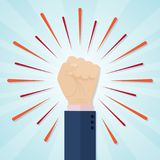 Hand showing raised fist on a radial comic background Stock Photography