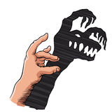 Hand showing scary monster on the wall. Vector illustration Royalty Free Stock Images