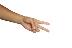 hand showing sign victory 图库摄影
