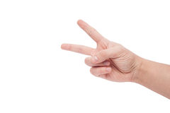 Hand showing the sign of victory and peace Stock Photo