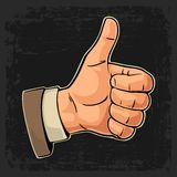 Hand showing symbol Like. Making thumb up gesture. Royalty Free Stock Photos