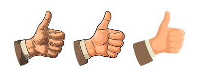 Hand showing symbol Like. Making thumb up gesture. Stock Photos