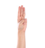 Hand is showing three fingers Stock Photography