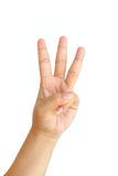 Hand showing three fingers isolated Royalty Free Stock Photo