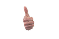Hand showing thumb up against white background Royalty Free Stock Photo