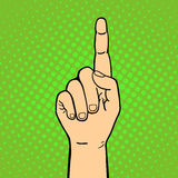 Hand showing thumbs up deaf-mute gesture human arm hold communication and direction design fist touch pop art style. Colorful vector illusstration. Forefinger Royalty Free Stock Images