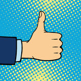 Hand showing thumbs up deaf-mute gesture human arm hold communication and direction design fist touch pop art style. Colorful vector illusstration. Forefinger Royalty Free Stock Photo
