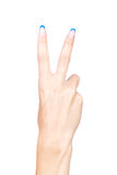 Hand showing two fingers Royalty Free Stock Images