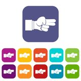 Hand showing two fingers icons set. Vector illustration in flat style In colors red, blue, green and other Stock Images