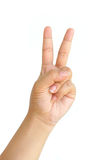 Hand showing two fingers isolated Stock Photography