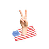 Hand showing victory sign on American flag background. Illustration, background, image, banner, poster, symbol Stock Photo