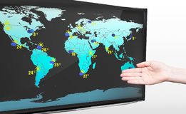 Hand showing weather forecast on TV Stock Photography