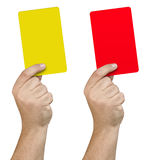 Hand Showing Yellow Red Card Isolated Royalty Free Stock Photo